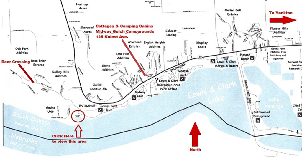 picture about Lewis and Clark Printable Map titled Halfway Gulch @ Lewis and Clark Lake - Community Maps